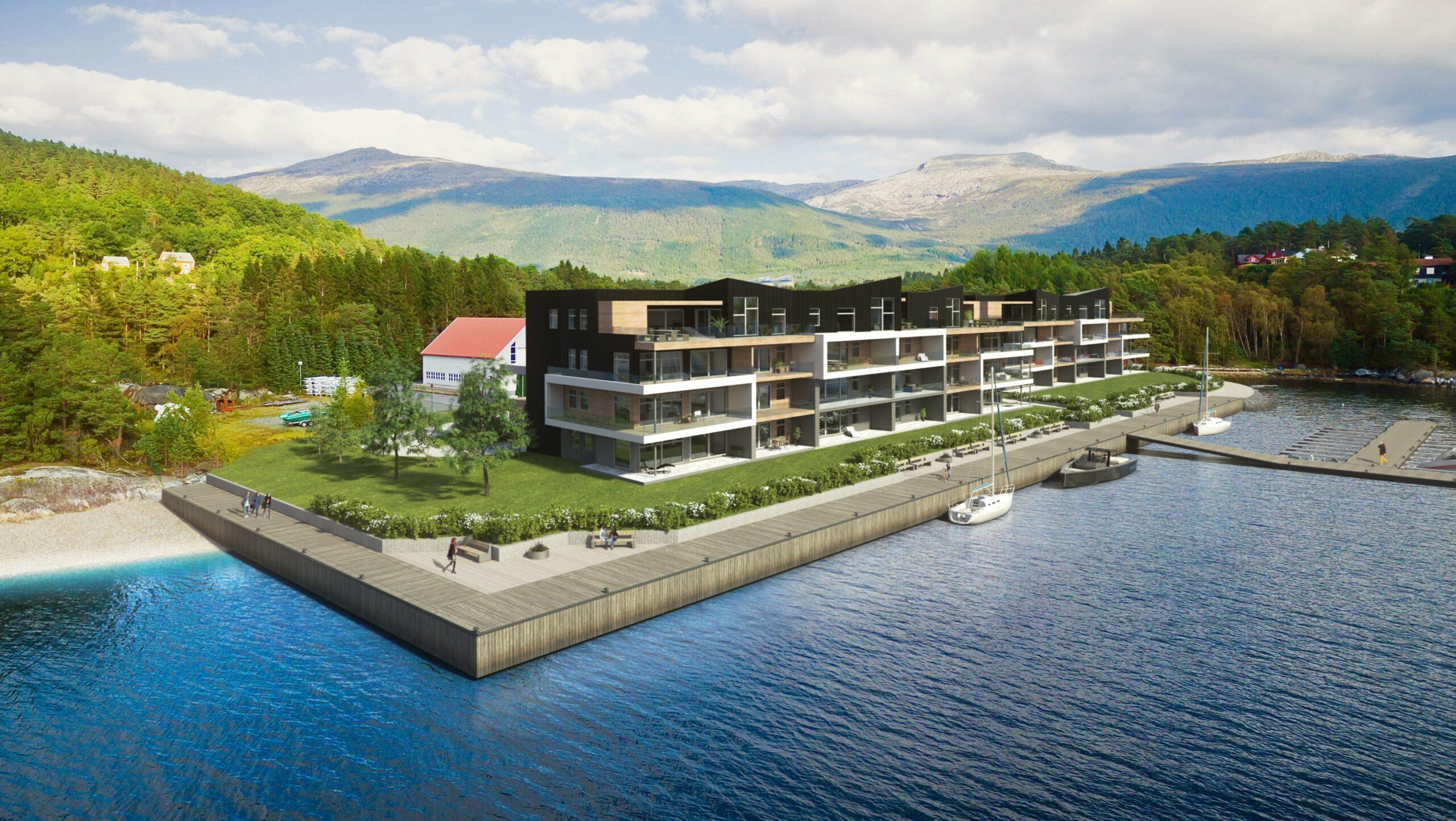 Husnes Brygge frå sjø